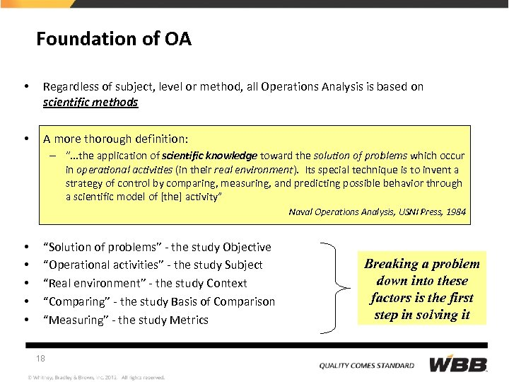 Foundation of OA • Regardless of subject, level or method, all Operations Analysis is
