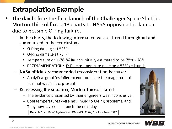 Extrapolation Example • The day before the final launch of the Challenger Space Shuttle,