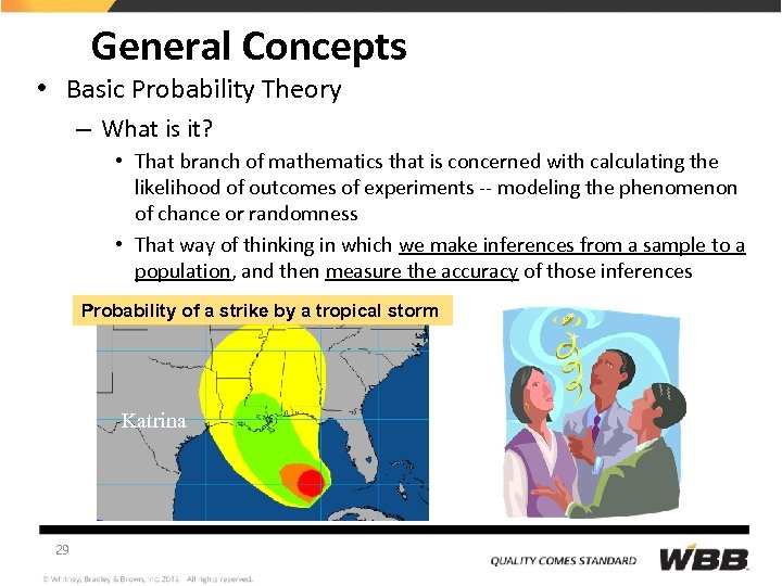General Concepts • Basic Probability Theory – What is it? • That branch of