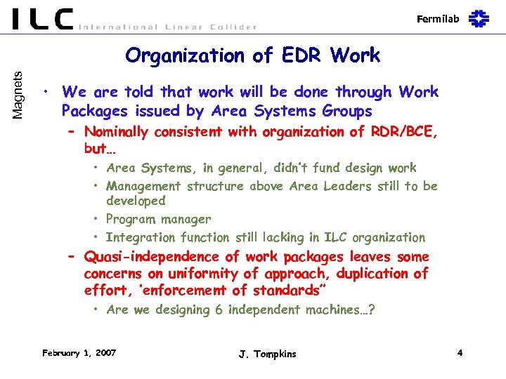 Fermilab Magnets Organization of EDR Work • We are told that work will be
