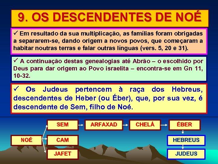 9. OS DESCENDENTES DE NOÉ Em resultado da sua multiplicação, as famílias foram obrigadas