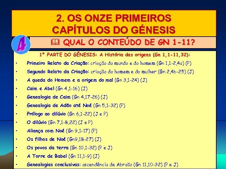 2. OS ONZE PRIMEIROS CAPÍTULOS DO GÉNESIS & QUAL O CONTEÚDO DE GN 1