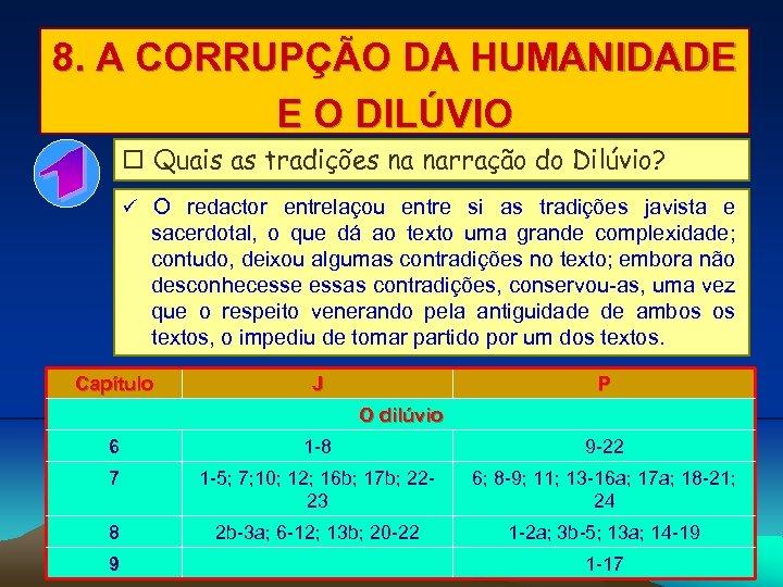 8. A CORRUPÇÃO DA HUMANIDADE E O DILÚVIO Quais as tradições na narração do