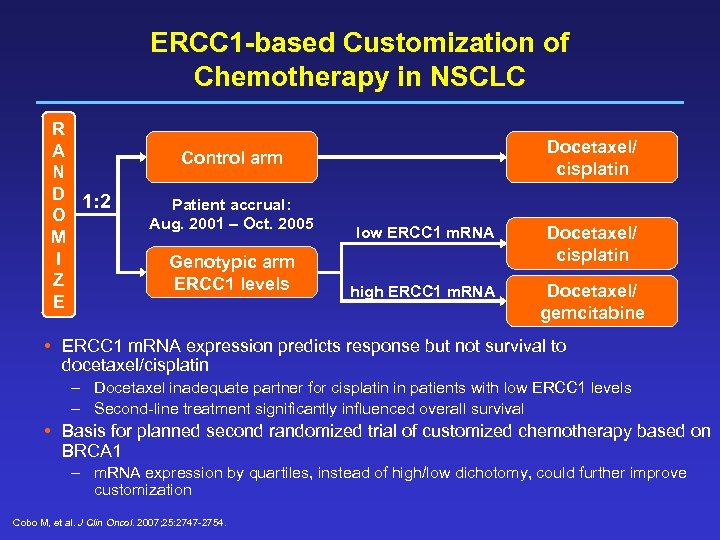 ERCC 1 -based Customization of Chemotherapy in NSCLC R A N D 1: 2