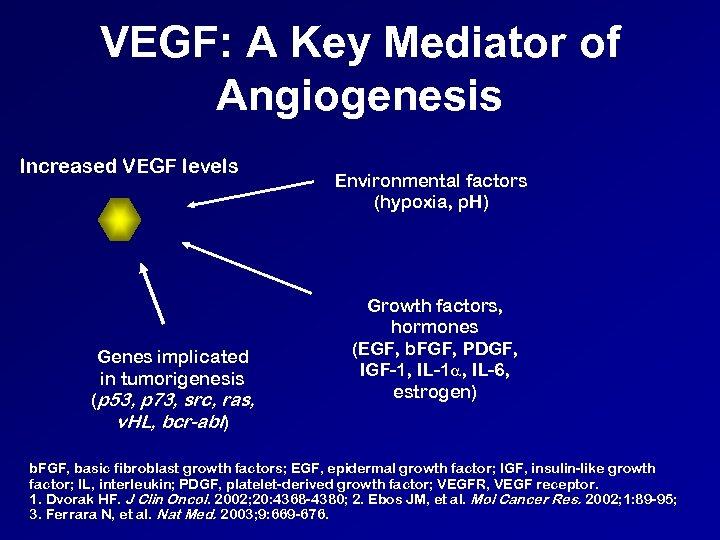 VEGF: A Key Mediator of Angiogenesis Increased VEGF levels Genes implicated in tumorigenesis (p