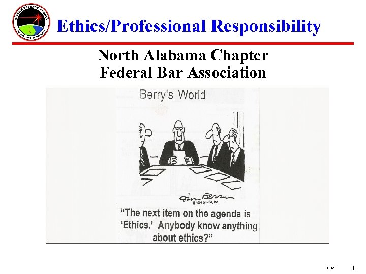 Ethics/Professional Responsibility North Alabama Chapter Federal Bar Association ms- 1