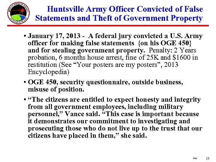 Huntsville Army Officer Convicted of False Statements and Theft of Government Property •