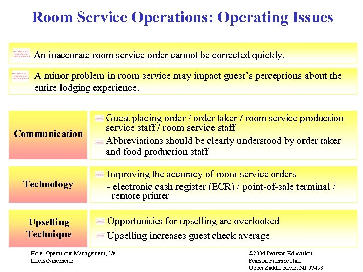 Room Service Operations: Operating Issues An inaccurate room service order cannot be corrected quickly.