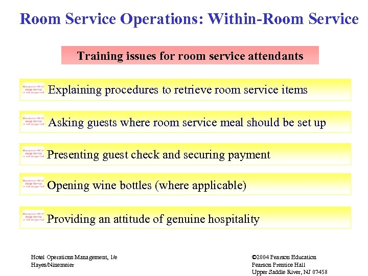 Room Service Operations: Within-Room Service Training issues for room service attendants Explaining procedures to
