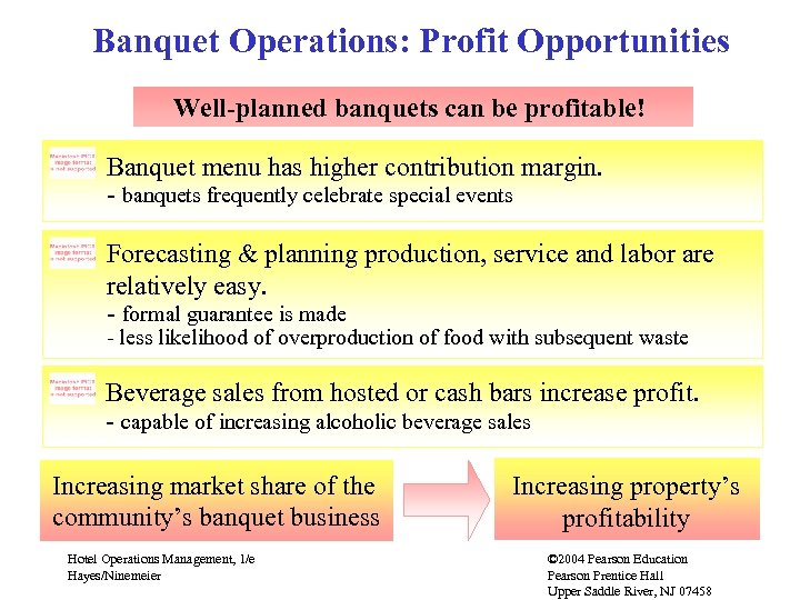 Banquet Operations: Profit Opportunities Well-planned banquets can be profitable! Banquet menu has higher contribution
