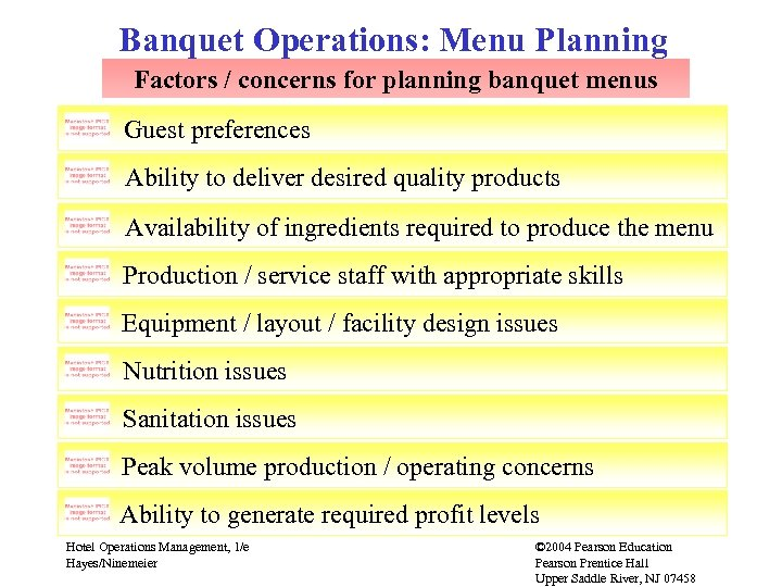 Banquet Operations: Menu Planning Factors / concerns for planning banquet menus Guest preferences Ability