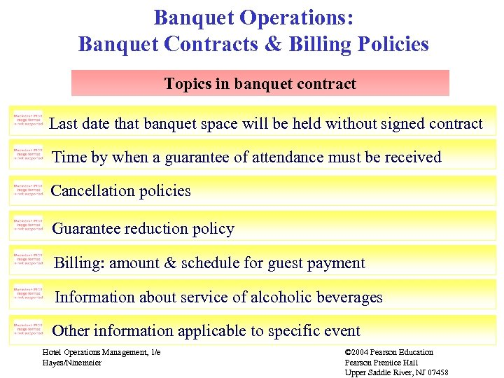 Banquet Operations: Banquet Contracts & Billing Policies Topics in banquet contract Last date that