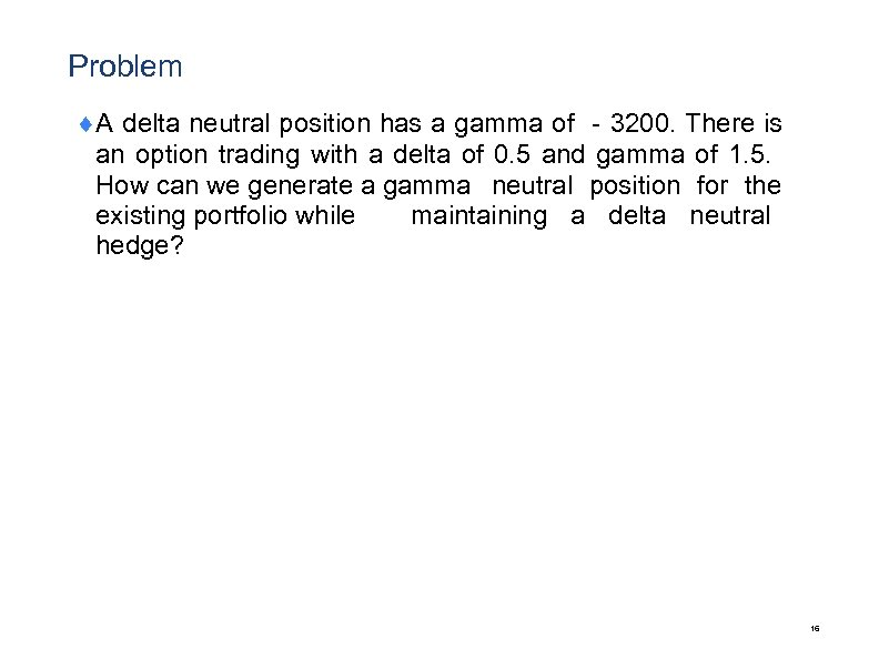 Problem ¨A delta neutral position has a gamma of -3200. There is an option
