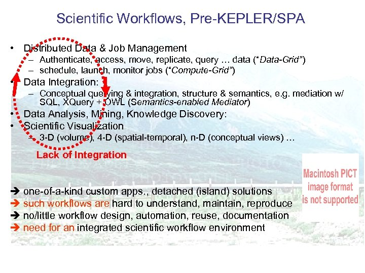 Scientific Workflows, Pre-KEPLER/SPA • Distributed Data & Job Management – Authenticate, access, move, replicate,