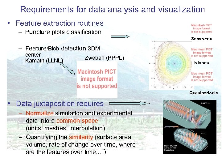 Requirements for data analysis and visualization • Feature extraction routines – Puncture plots classification