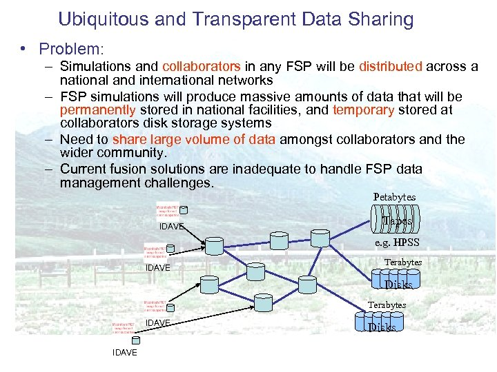 Ubiquitous and Transparent Data Sharing • Problem: – Simulations and collaborators in any FSP