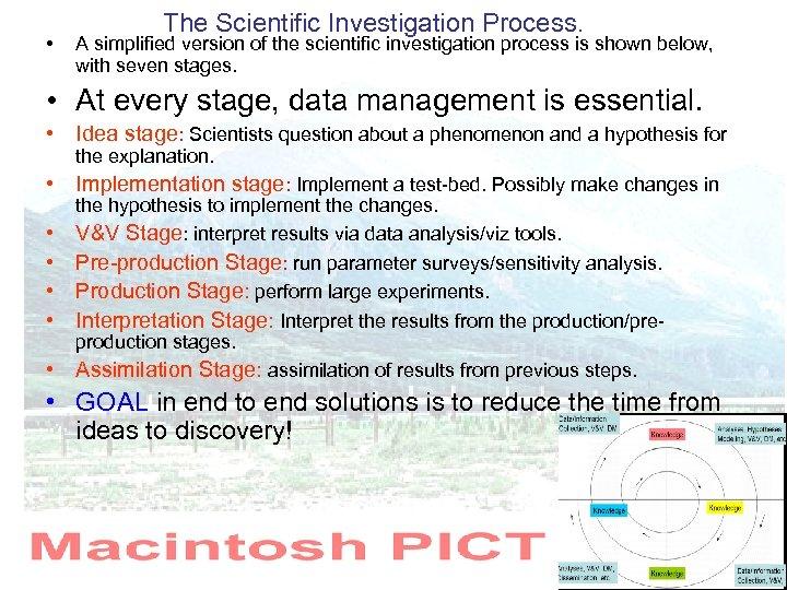 • The Scientific Investigation Process. A simplified version of the scientific investigation process
