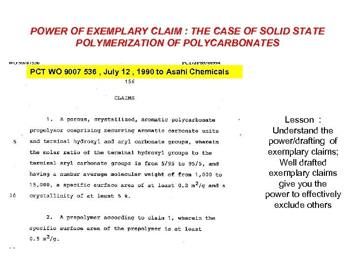 POWER OF EXEMPLARY CLAIM : THE CASE OF SOLID STATE POLYMERIZATION OF POLYCARBONATES PCT