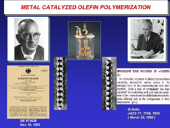 METAL CATALYZED OLEFIN POLYMERIZATION DE 973626 Nov 18, 1953 G. Natta JACS 77, 1708,