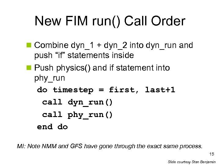 New FIM run() Call Order n Combine dyn_1 + dyn_2 into dyn_run and push