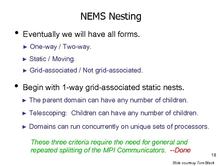 NEMS Nesting • Eventually we will have all forms. ► ► Static / Moving.