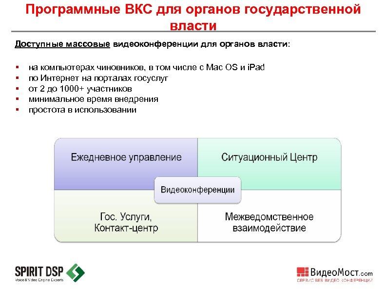 Программные ВКС для органов государственной власти Доступные массовые видеоконференции для органов власти: § §