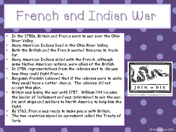 French and Indian War • • • In the 1750 s, Britain and France