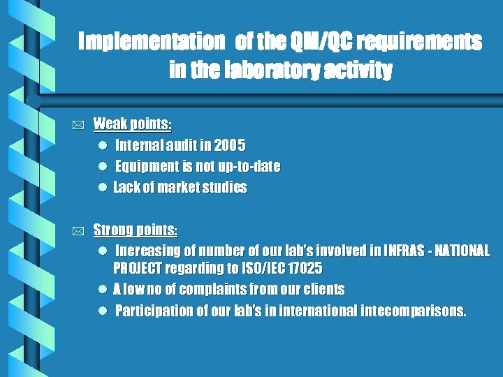 Implementation of the QM/QC requirements in the laboratory activity * Weak points: l Internal
