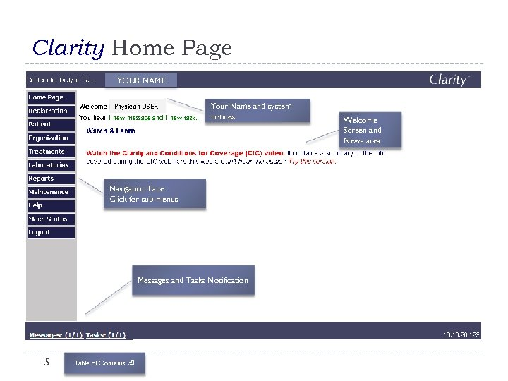 Clarity Home Page YOUR NAME Physician USER You have 1 new message and 1