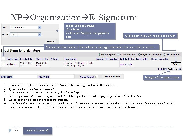 NP Organization E-Signature Select Clinic and Status Click Search Orders are displayed one page