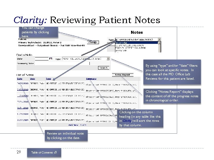 """Clarity: Reviewing Patient Notes You can change patients by clicking here. By using """"type"""""""