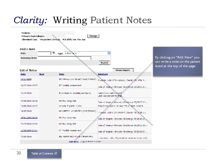 """Clarity: Writing Patient Notes By clicking on """"Add New"""" you can write a note"""
