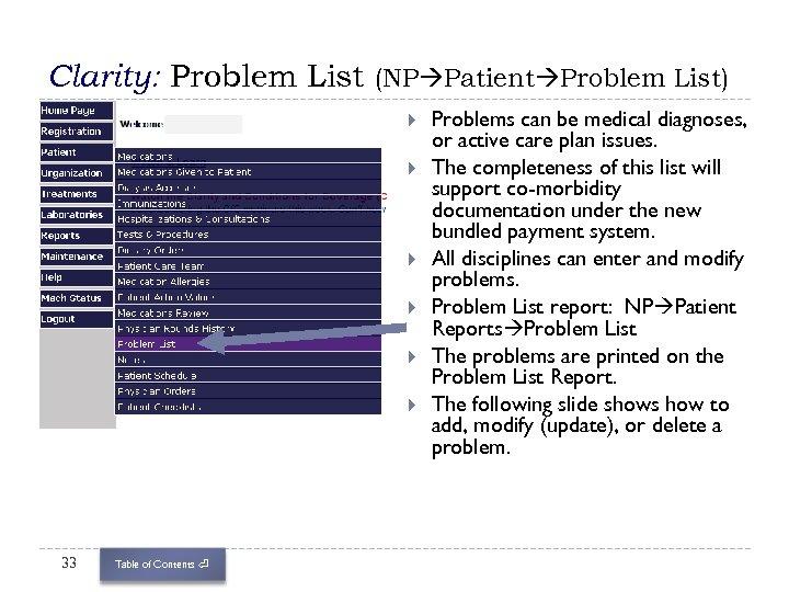 Clarity: Problem List (NP Patient Problem List) 33 Table of Contents ⏎ Problems can