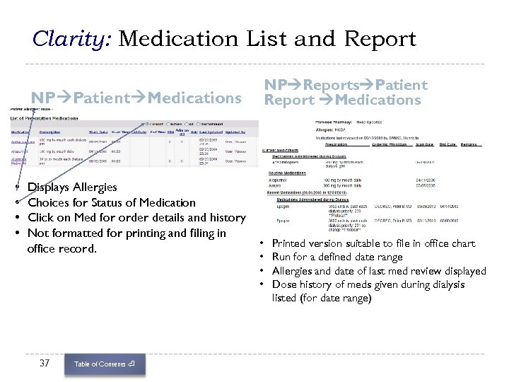 Clarity: Medication List and Report NP Reports Patient Report Medications NP Patient Medications •