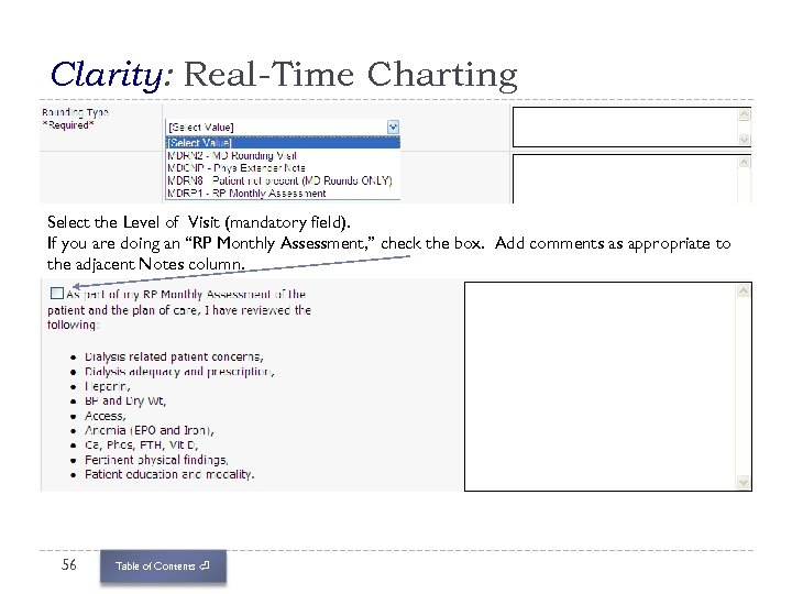 Clarity: Real-Time Charting Select the Level of Visit (mandatory field). If you are doing