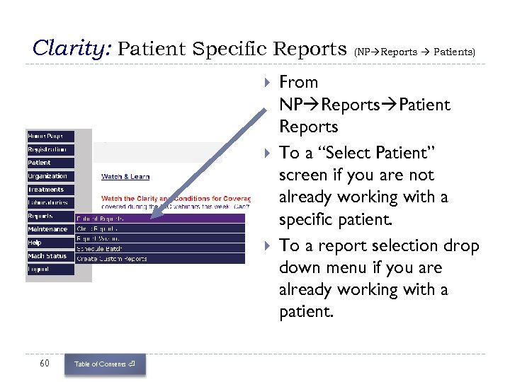 Clarity: Patient Specific Reports (NP Reports Patients) 60 Table of Contents ⏎ From NP