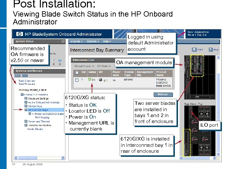 Post Installation: Viewing Blade Switch Status in the HP Onboard Administrator Logged in using