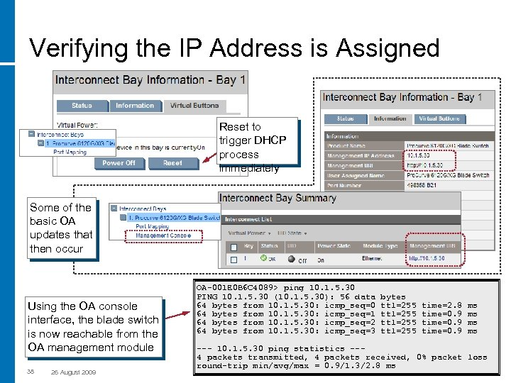 Verifying the IP Address is Assigned Reset to trigger DHCP process immediately Some of
