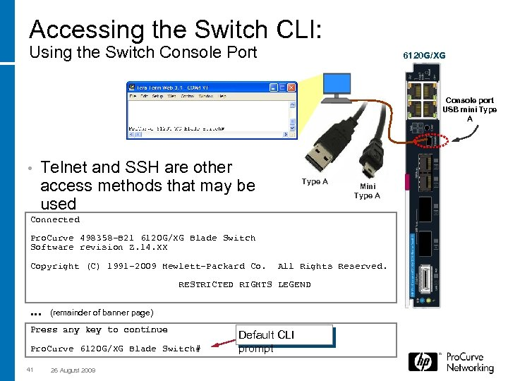 Accessing the Switch CLI: Using the Switch Console Port 6120 G/XG Console port USB
