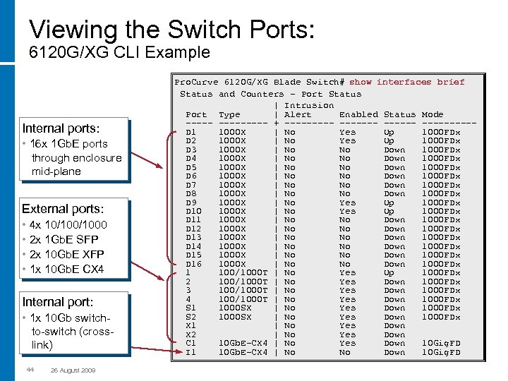 Viewing the Switch Ports: 6120 G/XG CLI Example Internal ports: • 16 x 1