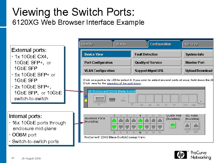 Viewing the Switch Ports: 6120 XG Web Browser Interface Example External ports: • 1