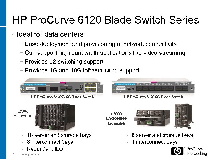 HP Pro. Curve 6120 Blade Switch Series Ideal for data centers • − Ease