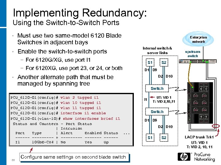 Implementing Redundancy: Using the Switch-to-Switch Ports Must use two same-model 6120 Blade Switches in