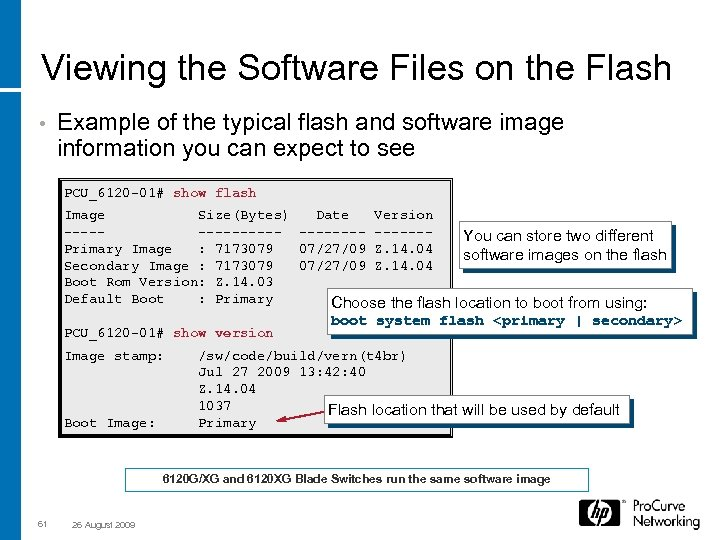 Viewing the Software Files on the Flash • Example of the typical flash and