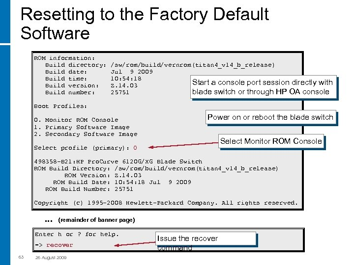 Resetting to the Factory Default Software ROM information: Build directory: Build date: Build time:
