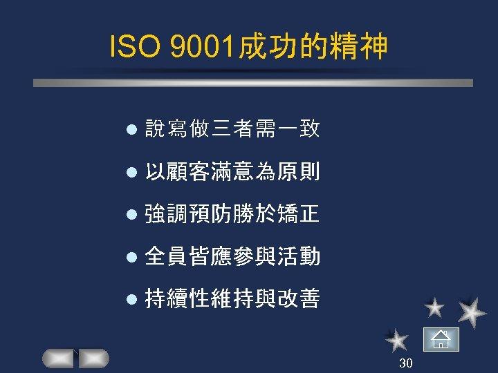ISO 9001成功的精神 l 說寫做三者需一致 l 以顧客滿意為原則 l 強調預防勝於矯正 l 全員皆應參與活動 l 持續性維持與改善 30
