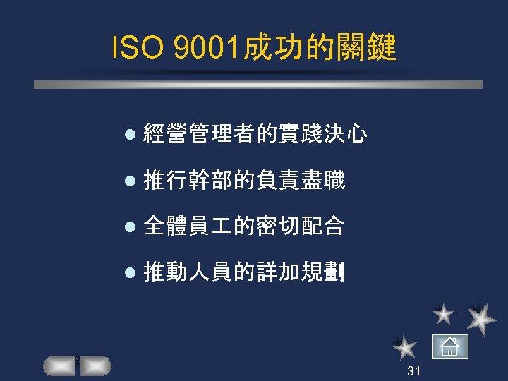 ISO 9001成功的關鍵 l 經營管理者的實踐決心 l 推行幹部的負責盡職 l 全體員 的密切配合 l 推動人員的詳加規劃 31