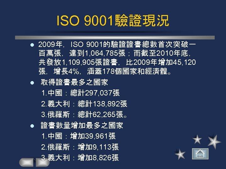 ISO 9001驗證現況 2009年,ISO 9001的驗證證書總數首次突破一 百萬張,達到 1, 064, 785張;而截至 2010年底, 共發放 1, 109, 905張證書,比 2009年增加