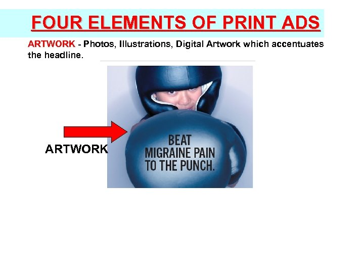 FOUR ELEMENTS OF PRINT ADS ARTWORK - Photos, Illustrations, Digital Artwork which accentuates the