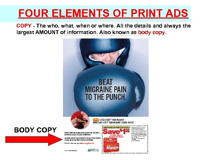 FOUR ELEMENTS OF PRINT ADS COPY - The who, what, when or where. All